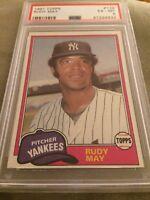 1981 Topps Rudy May Baseball Card #179 PSA 6 Yankees Pitcher