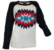 Langarm Damen-Pullover & -Strickware mit Rundhals-Ausschnitt und Norweger-Muster