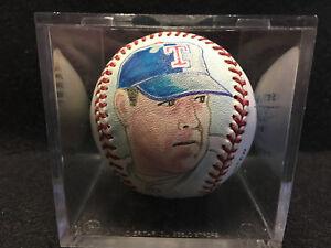Vtg Noland Ryan Portrait Painted on Baseball Art JORSAK 94/100 Texas Rangers