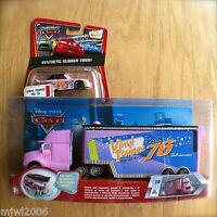Disney PIXAR Cars VINYL TOUPEE HAULER & RACER diecast rubber tire lot 2 bundle