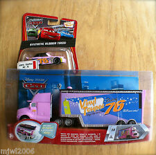 Disney PIXAR Cars VINYL TOUPEE HAULER & RACER diecast rubber tire lot 2 bundle