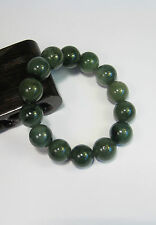 Natural Grade A  dark green  jade 10 mm beaded stretchy bracele(14 beads)