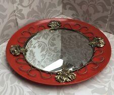Metal Antiguo de mediados de siglo Rojo Decorativo Circular Convexo Espejo de pared 1950s Retro