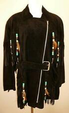 MINZ SKINZ Black Suede Leather Western Fringe Jacket Coat Size Small