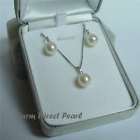 AAA Freshwater White Drop Pearl Pendant Necklace Earrings SET Sterling Silver