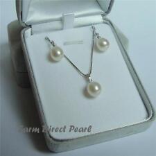 AAA Freshwater White Drop Pearl Pendant Necklace Earrings SET Sterling Silver