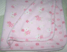 Just One Year Pink & White w Flowers Floral Fleece Baby Girl Blanket EUC