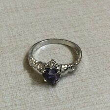 Women's Silver Crown Ring Purple Sapphire Crystal Heart Shaped Size 10 New Style