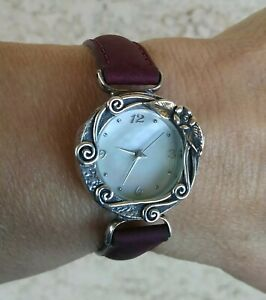 Tamir Zuman Handmade In Israel Sterling Silver MOP Dial Burgundy Leather Watch