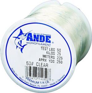 Ande Premium Mono Line 1/4 lb Spool w/Abrasion Resistant/Knot Strength A14-50C