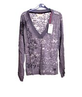 Replay Women's Style T-SHIRT top Grey Floral Pattern Long Sleeve Cotton Size S