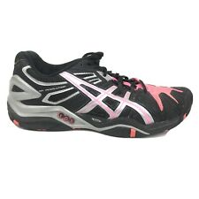 Asics Gel Resolution 5 Running Shoes Womens Size 7 Black Gray Pink Sneakers 350y