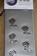 50pc Metallic Silver Roses Wilton Wedding Envelope Seals 233