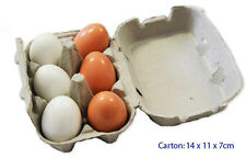 NEW Pretend Food for Kitchen Wooden Eggs in Carton 6pc