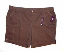 Gloria Vanderbilt Womans Plus 20W Jess Button-Tab Shorts Oakwood Brown NEW $46