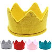 Boys Girls Baby Kids Headwear Crown Knit Headband Hat Photography Props