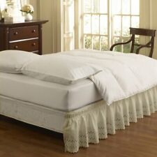 Easy Fit Eyelet Wrap Around Easy On/Off Dust Ruffle 18-Inch Drop Bedskirt, Quee