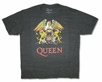 Queen Classic Crest Logo Heather Black T Shirt New Official Band Freddie Mercury