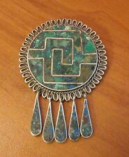 Sterling Silver Brooch Pendant malachite inlay & 5 Teardrop Taxco Mexico 20 gram