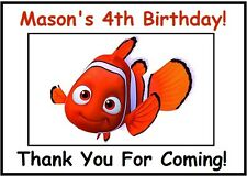 """(18)Personalized Finding Nemo Party Stickers,3 1/4"""",Birthday Favors Bag Labels"""