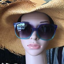 Linda Farrow Sunglasses Large Blue And Green Plastic Hombre Smoke Lens