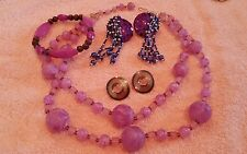 JEWELRY LOT SET VINTAGE 2 STRAND CHOKER 2 EARRINGS PURPLES BRACELET. 1J