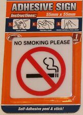 NO SMOKING PLEASE Sign Small 55x55x2mm plastic NEW Permanent Self-Adhesive Stick