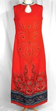 Vintage Bagshaws St. Lucia Bright Red Floral Sleeveless Maxi Dress Gown - Med