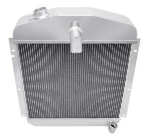 1947-1949 Plymouth Coupe Radiator, Polished Aluminum 3 Row Champion Radiator
