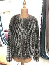 Warehouse Faux Fur Black & Grey Jacket, Size S