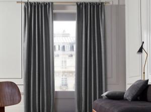 Madura Coconut Charcoal Woven Pencil Pleat Single Curtain Panel 350 x 280 cm