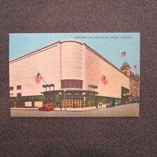 """2 Bit Postcards-E153 """"New Municipal Auditorium"""" Autos, Flags Denver,Colorado"""