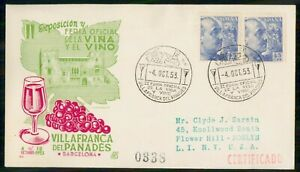 Mayfairstamps SPAIN EVENT 1953 COVER VILLAFRANCA DEL PANADES FAIR & EXPO wwi9308