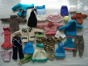 Bundle of Hand Knitted Clothes for Assorted Sized Small Dolls
