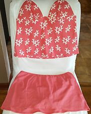 VICTORIA SECRET TANKINI XL TOP BOTTOMS CORAL SKIRT PADDED CUPS PINK CORAL REEF