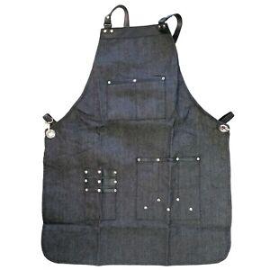 Denim Apron Leather Strap Barista Workwear Barber Pocket Studio Uniform Apron