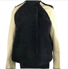 3.1 Phillip Lim Womens Black Shearling & Beige Leather Baseball Jacket Coat 2