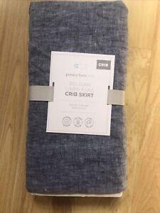 Pottery Barn Kids Belgian Flax Linen Blue Denim Crib Bed Skirt $79