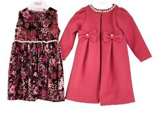 Girls Kids Winter Long Fashion Coat Jacket With Velour Party Dress Christmas