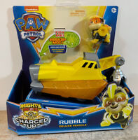 Rubble Mighty Pups CHARGED UP Paw Patrol Deluxe Vehicles Figure Lights Sound