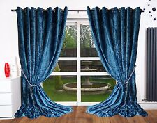 Curtains Eyelet Top Ring Lined fully Luxury crushed velvet Designer Curtains NEW
