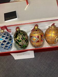 JOAN RIVERS Classic Collection Set 4 Russian Spring Egg Ornaments Christmas new