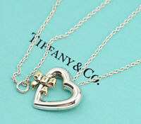 TIFFANY&Co Ribbon Bow Heart Necklace Silver 925 & 18K Gold w/BOX v1276