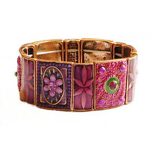 Bright Pink Floral Tiles Stretch Bracelet Fuchsia and Purple
