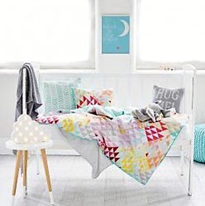 ADAIRS KIDS Hello Sunshine COT (Jnr Bed) Quilt Cover Set - pink blue- Reversible