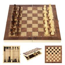 3in1 Schachspiel Holz Geschenk Faltbare Schachbrett Backgammonspiel 30x30 cm