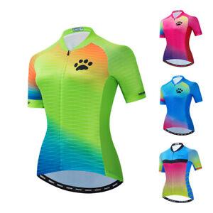 Green Women Cycling Jersey Short Sleeve Bike Clothing Shirt with 3 Pockets Tops
