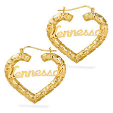 Personalized Sterling Silver and Gold Plated Heart Bamboo Name Earrings Any Name