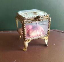 Antique Jewellery trinket Casket Box French Glass & Ormolu 19thC Souvenir Nantes