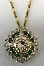 14K Yellow Gold Clear Quartz, Emerald Pendant and Chain Necklace Made in Italy